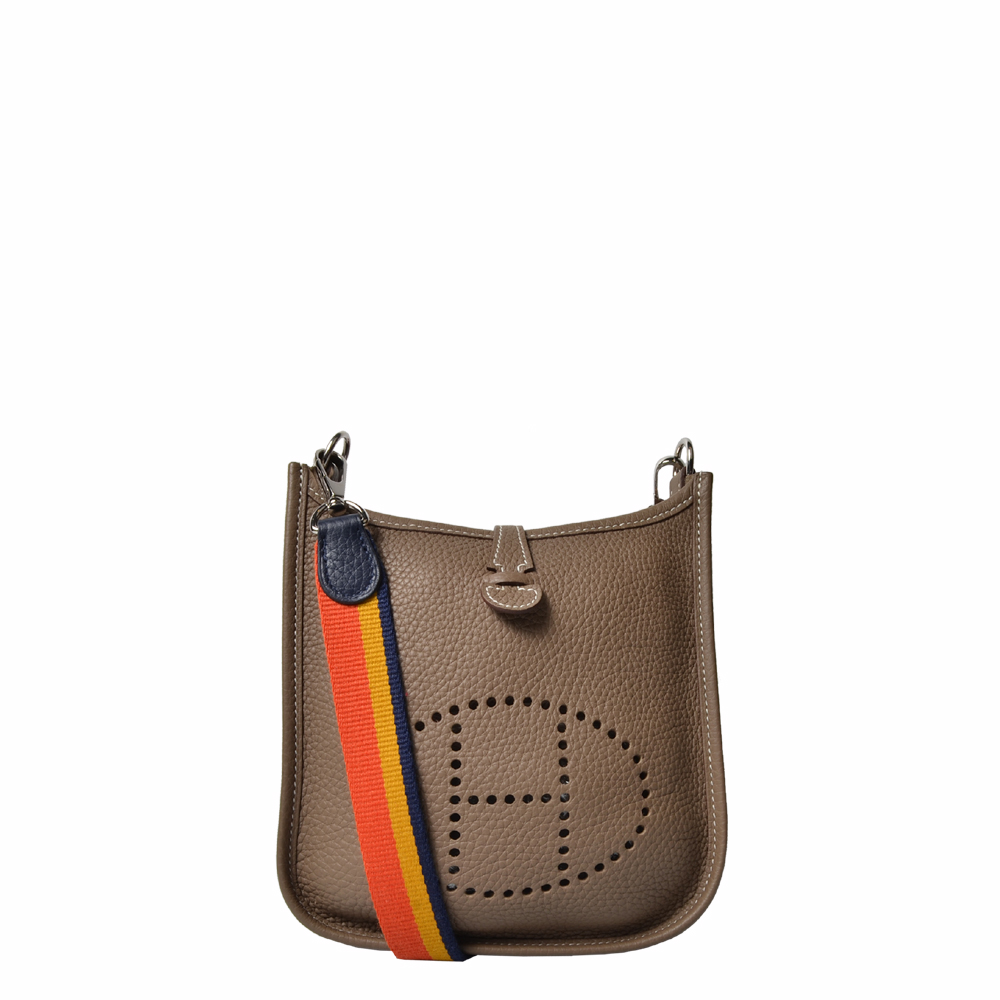 Hermes Tasche PM Evelyne Etoupe mit blau gelb rotem Band 1.400 ( )