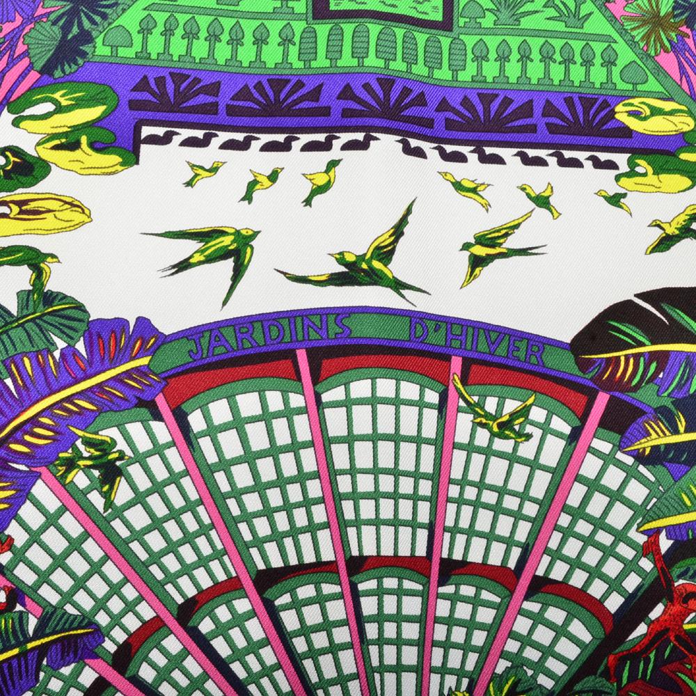 Ewa lagan herm s carre 90x90 100 silk jardins d hiver grey for Jardin d hiver