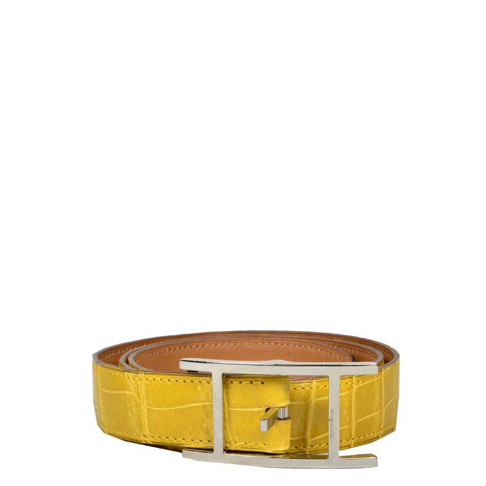 Hermes hapi belt size 80 alligator yellow palladium_2 Kopie