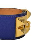 hermes collier de chien bracelet swift blue gold L_2 Kopie