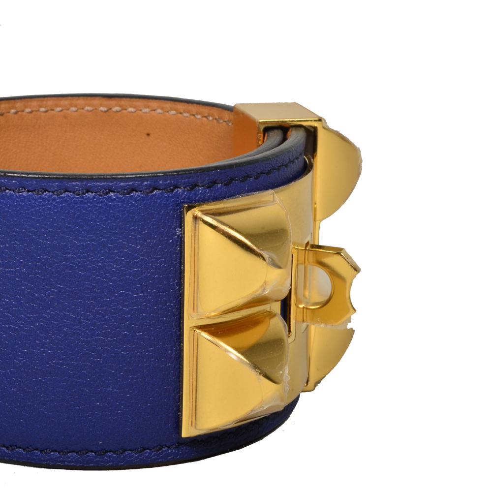 ewa lagan - Hermès Collier de chien bracelet swift bleu