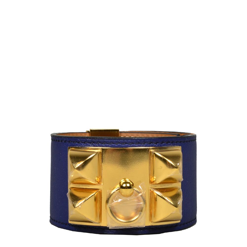hermes collier de chien bracelet swift blue gold L_7 Kopie