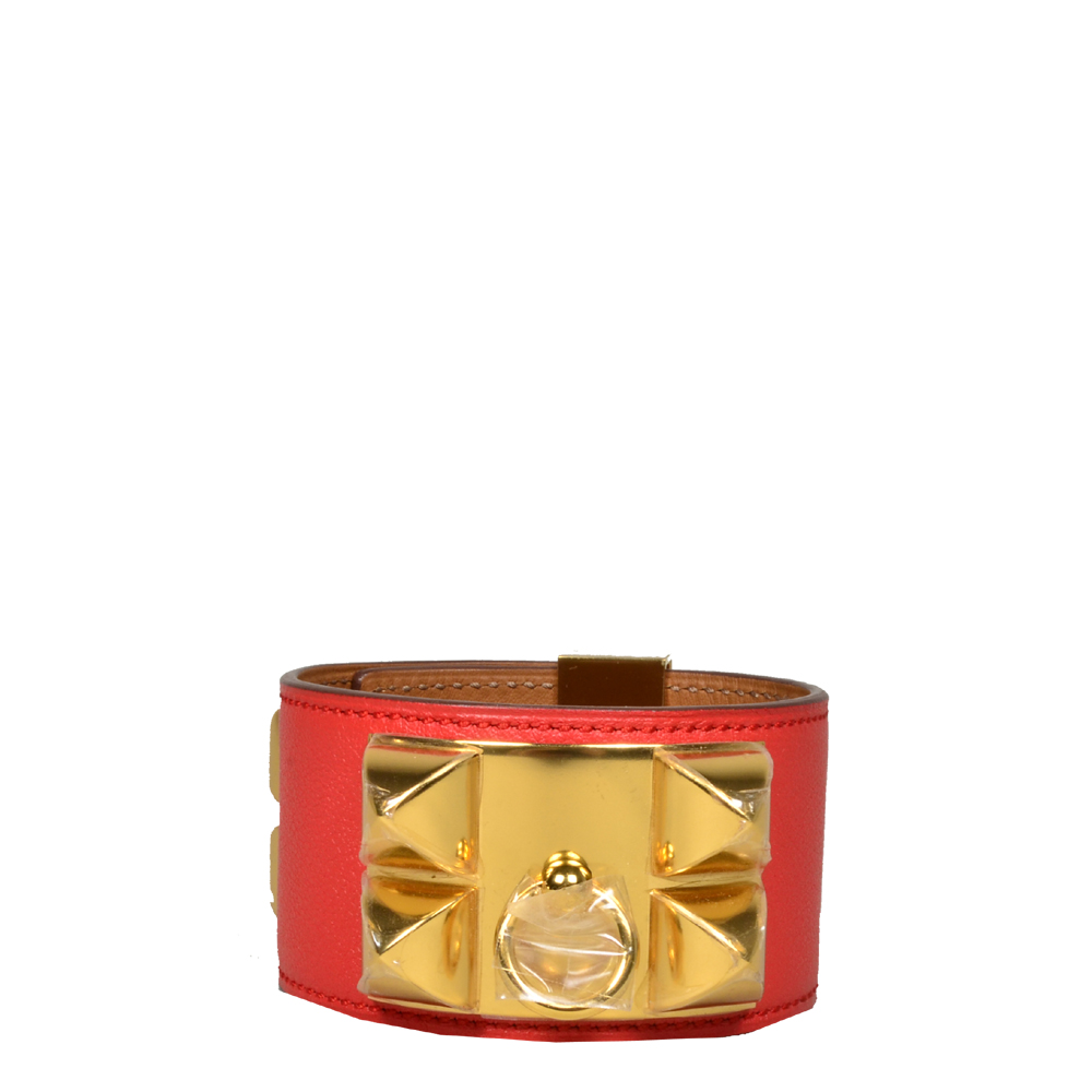 hermes collier de chien bracelet swift rouge gold L_3 Kopie