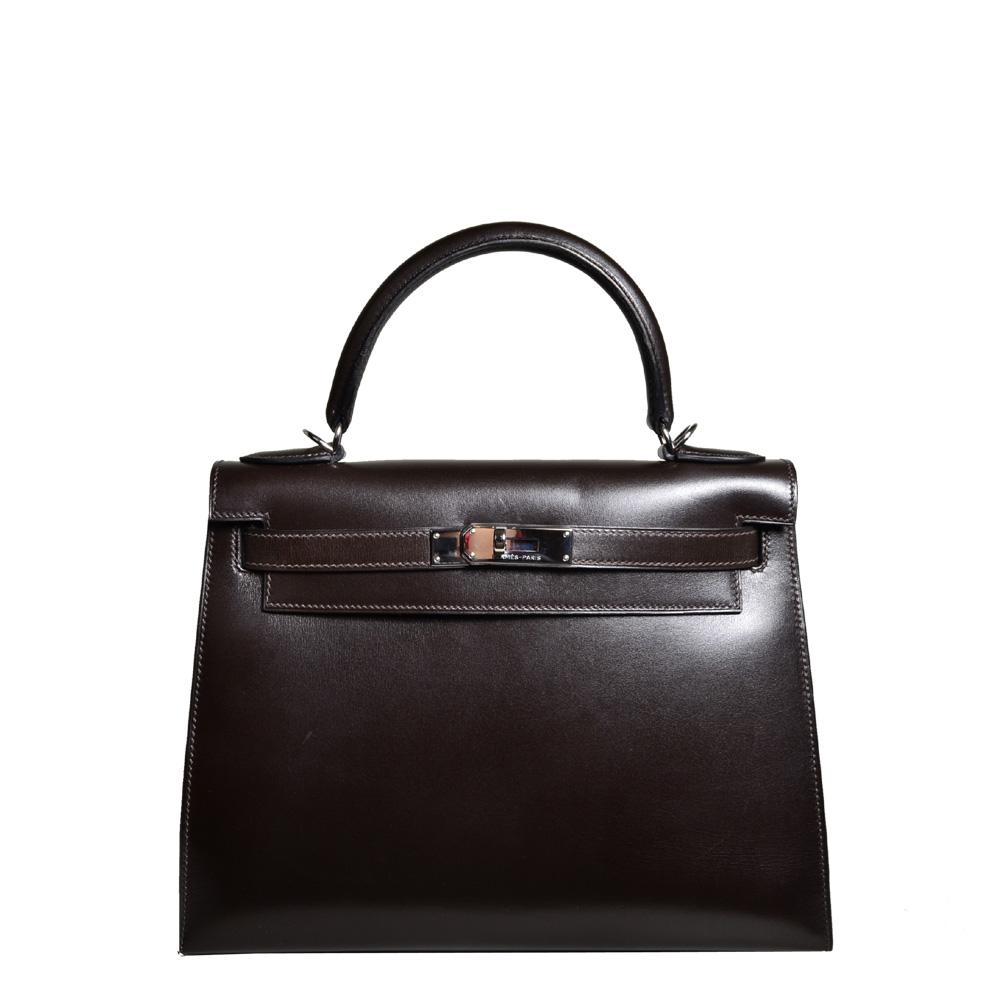 59ea93b93fb7 ewa lagan - Hermès Kelly 28 Brune Sellier Tadelakt Leather Palladium