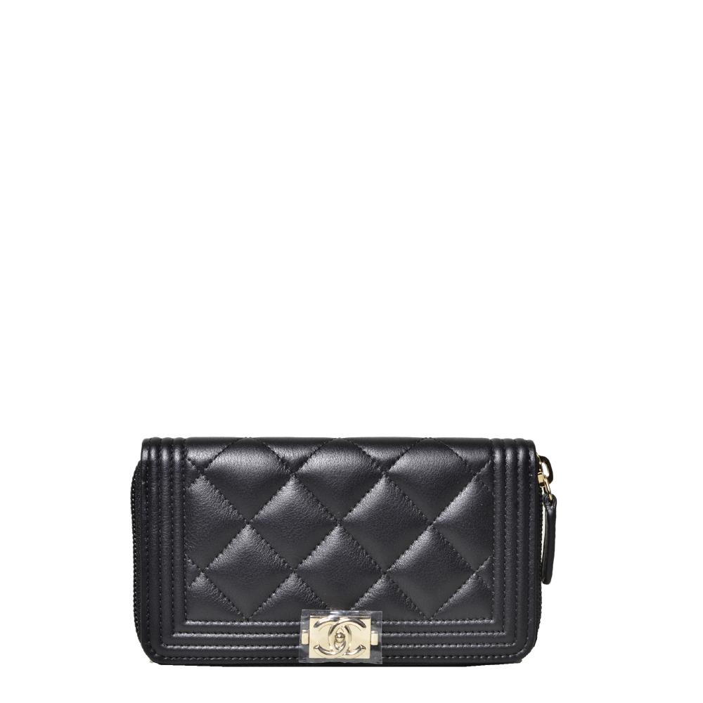 Chanel boy wallet mini zipper Caviarleather black silver _1 Kopie
