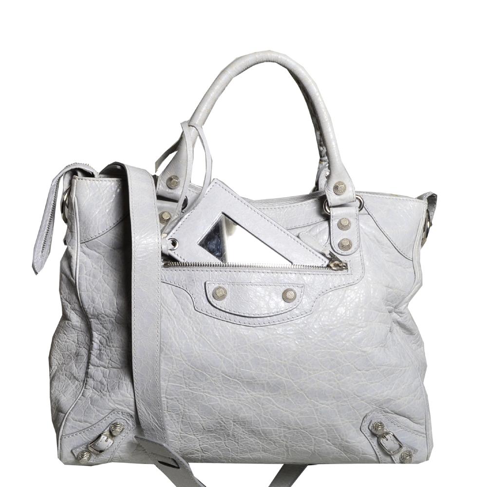 balensiaga classic schoulder bag light grey leather 3 Kopie