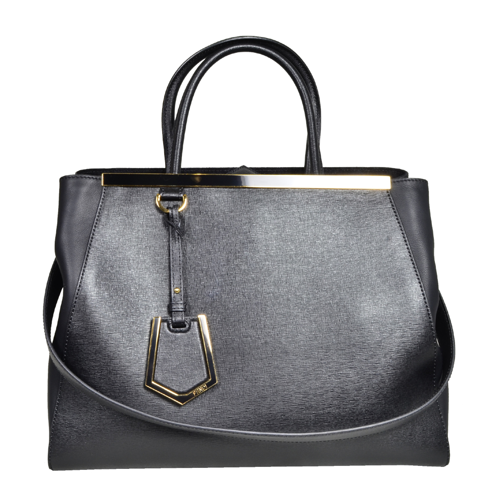 Fendi bag 2 jour leather grey gold_1 Kopie