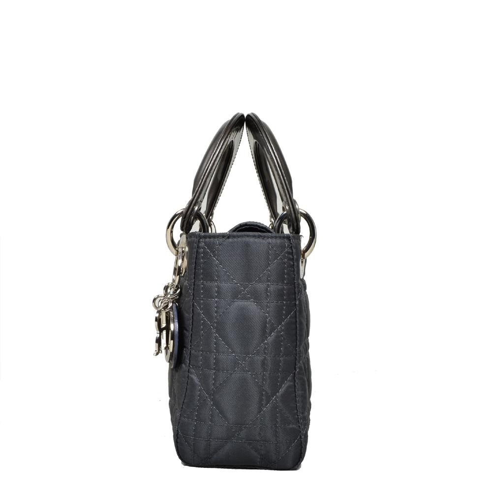 0d51e205aa56a Dior Lady Dior mini nylon grey silver 2 Kopie