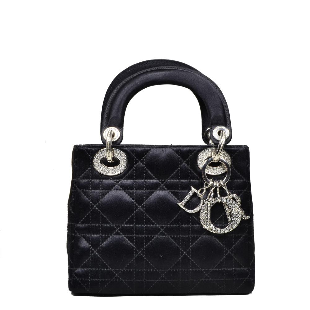 8ac3cb96b8ef3 WOMEN · Dior Lady Dior mini satin black silver Swarovski Crystals