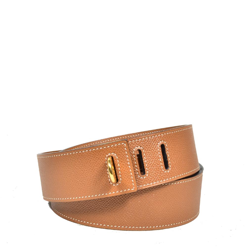 Hermes Gürtel braun mit goldener Hardware Kopie