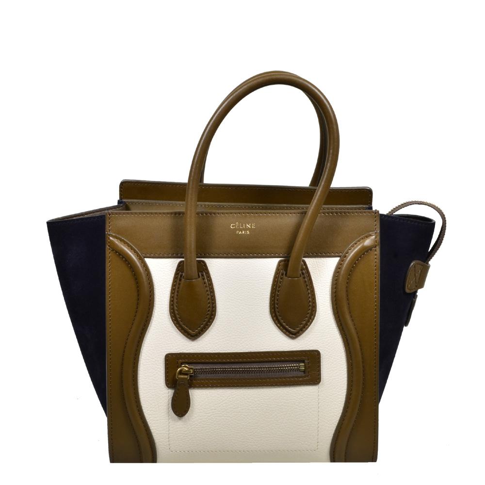 Celine Luggage Mini mini buckskin leather khaki blue white_1 Kopie