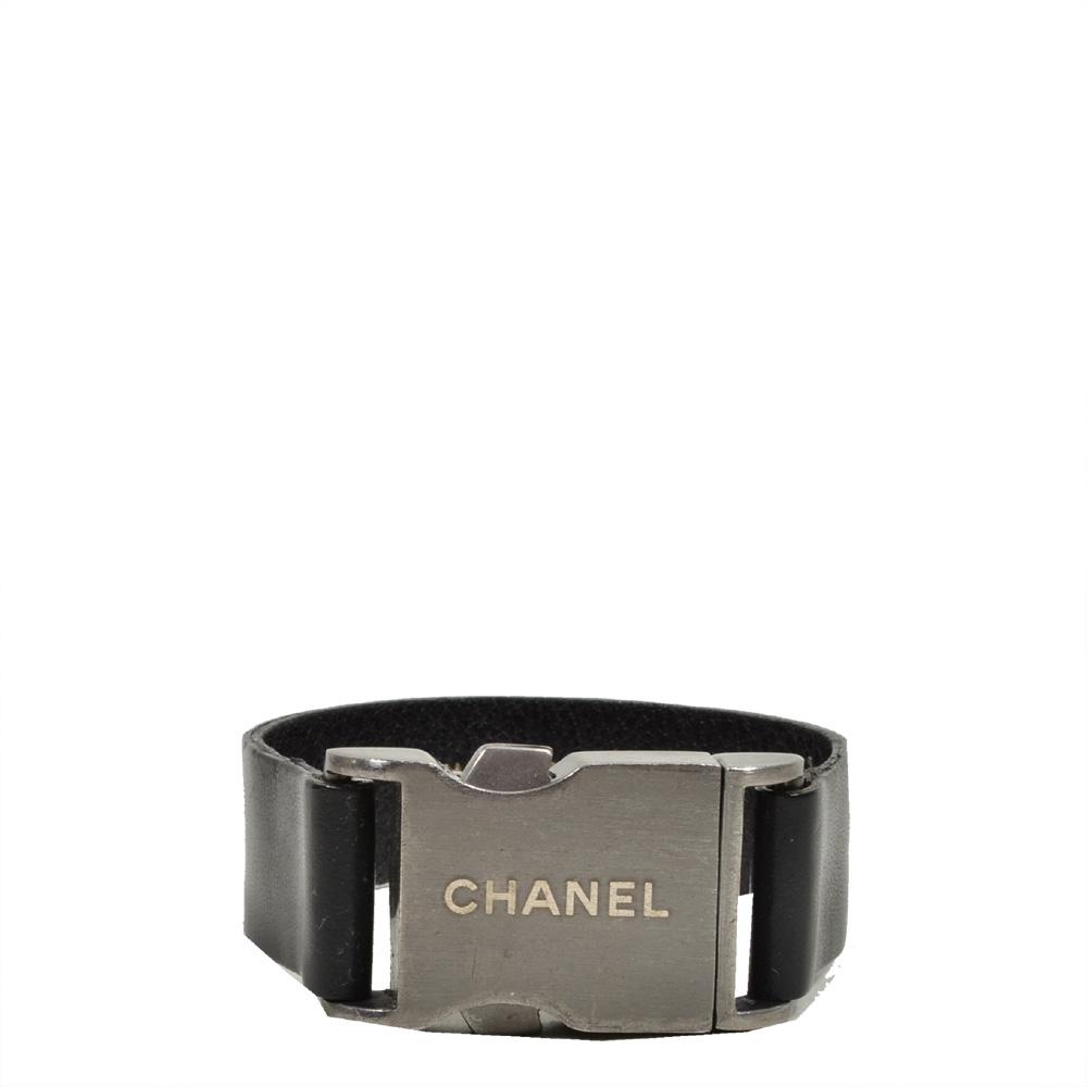 Chanel bracelet leather black silver3 Kopie
