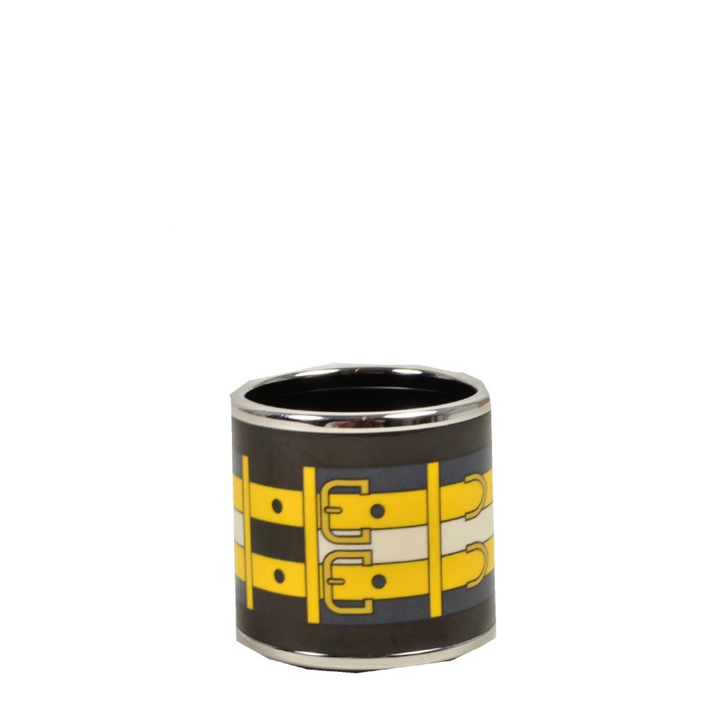 Hermes Carre Ring Anneau Email Sans Plomb Rocabar PL brown blue yellow2 Kopie