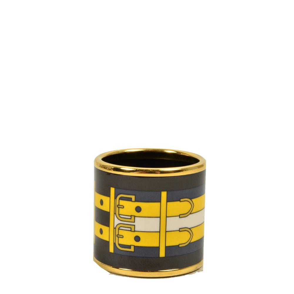 Hermes Carre Ring Anneau Email Sans Plomb Rocabar gold brown blue yellow3 Kopie