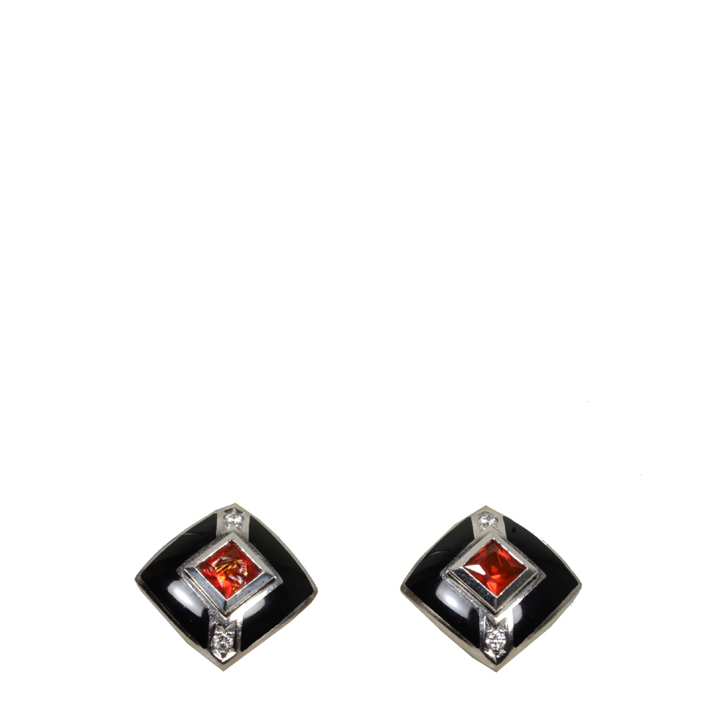 Earclips white gold onix diamant rubin_4 Kopie