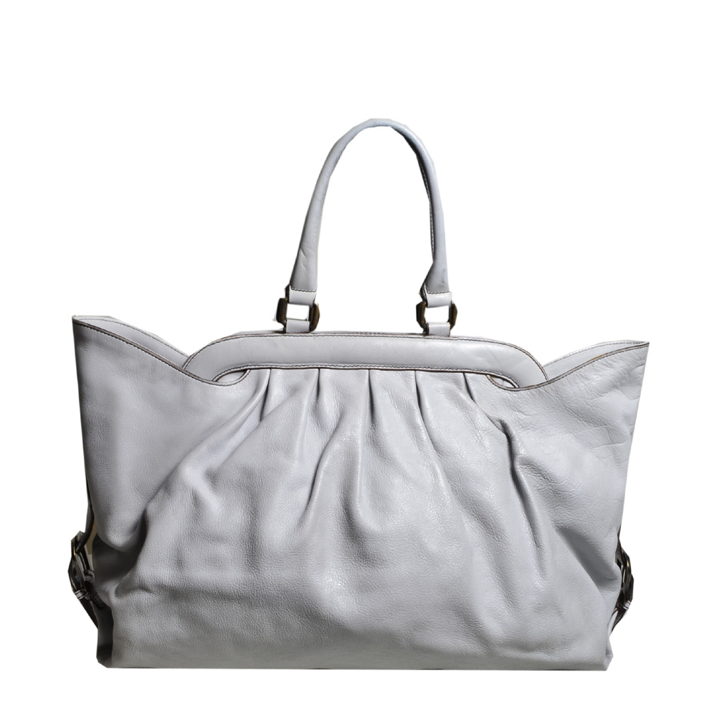 Fendi shopper bag grey blue leather 1 Kopie