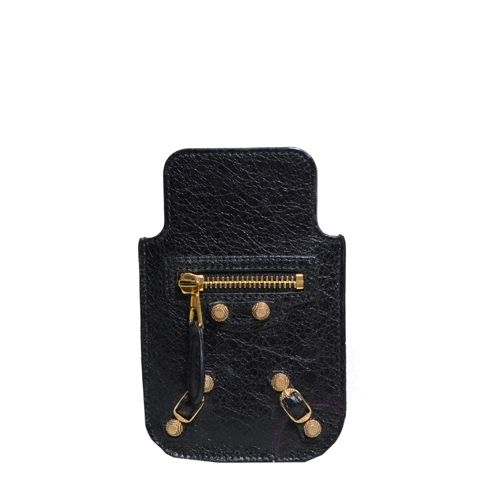 Balenciaga mobile phone case black leather gold 1 Kopie