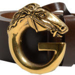 Gucci belt leather brown gold horse 4 Kopie