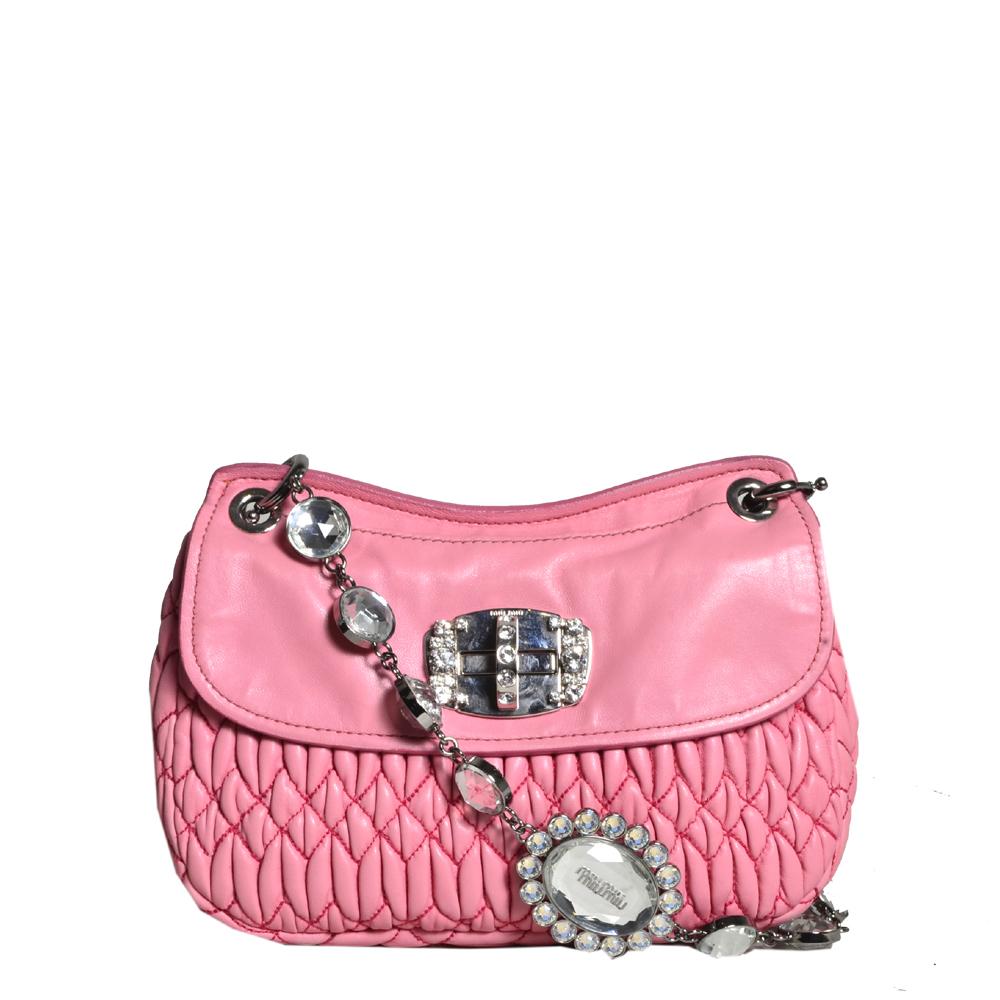 Miu Miu Matelasse Shoulder Bag pink silver8 Kopie
