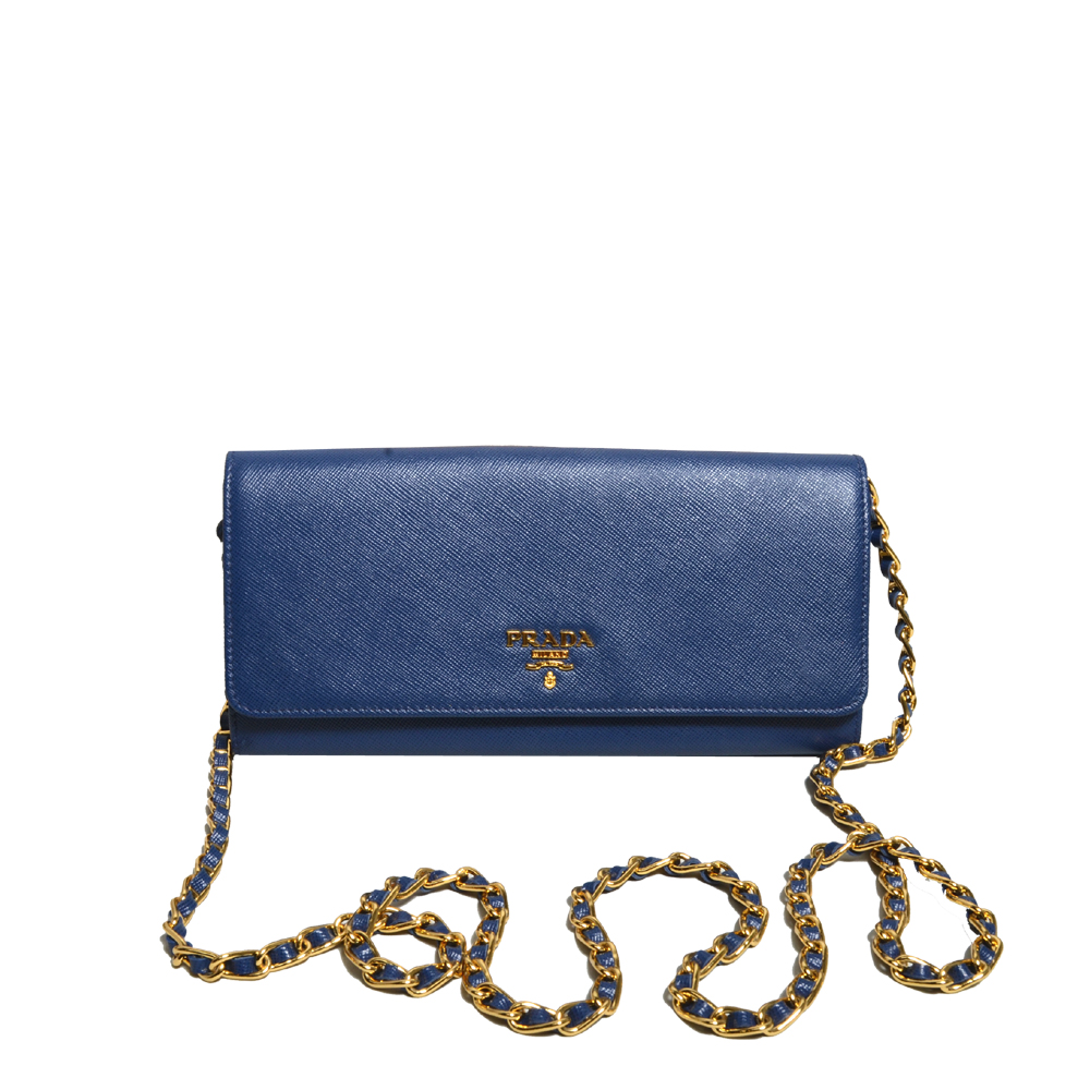 Prada Wallet on Chain saffiano leather darkblue gold 1 Kopie