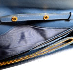 Prada Wallet on Chain saffiano leather darkblue gold 9 Kopie