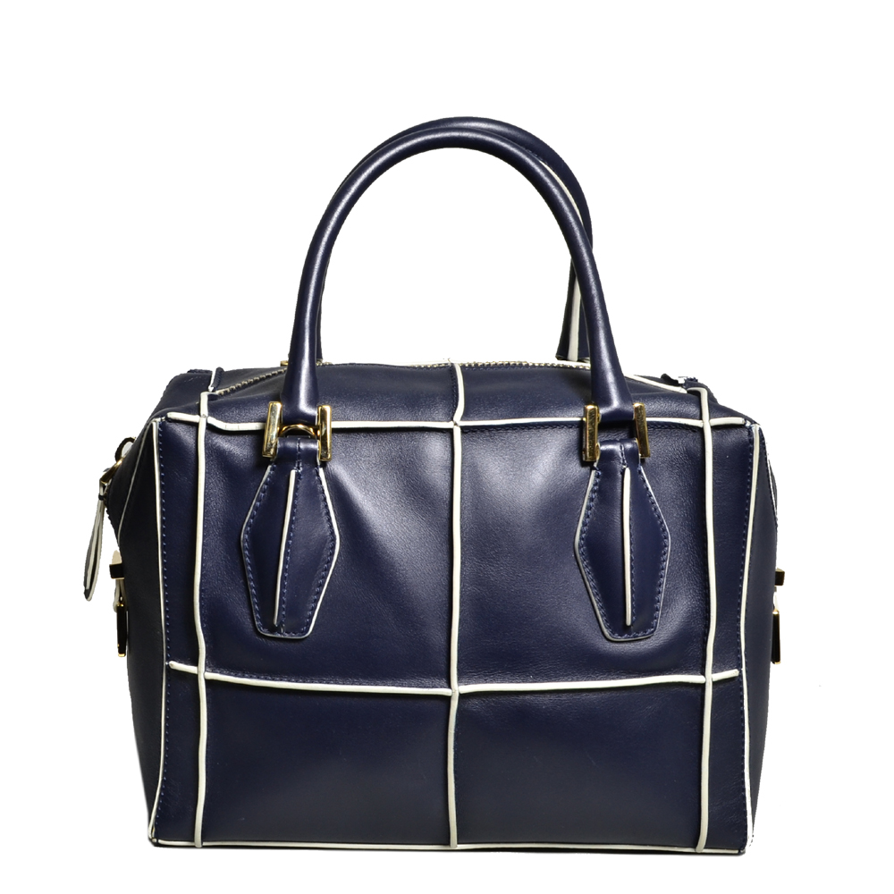 ewa lagan tods d cube bowler bag small leather navy blue. Black Bedroom Furniture Sets. Home Design Ideas