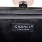 Chanel Clutch black satin CC rose silver_10