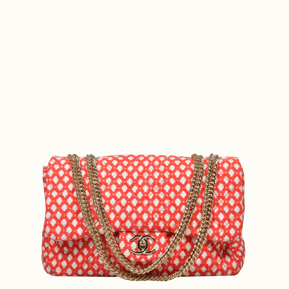 Chanel Timeless classic rot white canvas gold 3