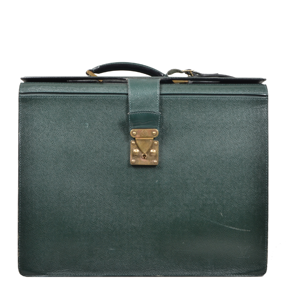Louis Vuitton Briefcase green taiga leather gold_8 Kopie