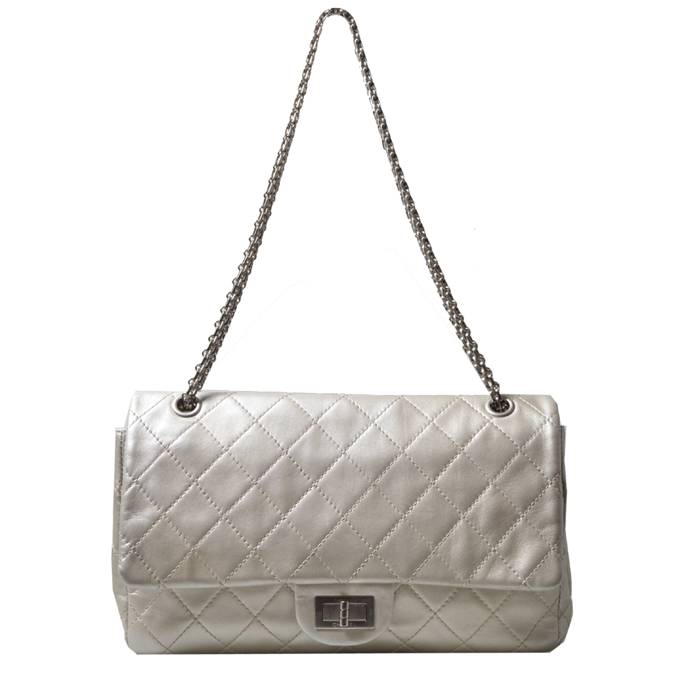 chanel 25.5 silver nappa leather silver 1