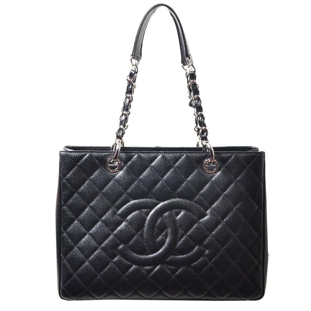 Chanel GST Shopper black caviar leather silver_10 Kopie