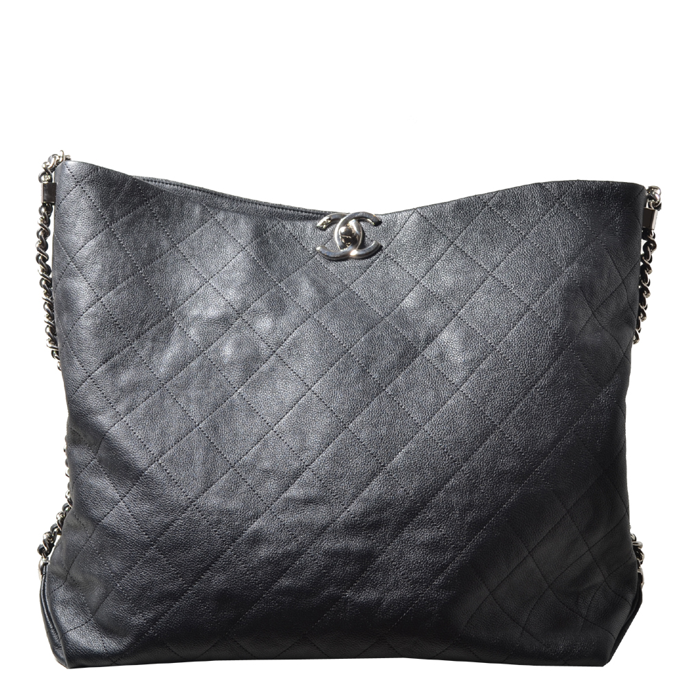 Chanel Shopper big black caviar leather CC silver_6 Kopie