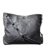 Chanel Shopper big black caviar leather CC silver_8 Kopie