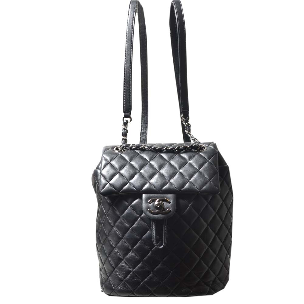 Chanel backpack black silver nappaleather_10 Kopie