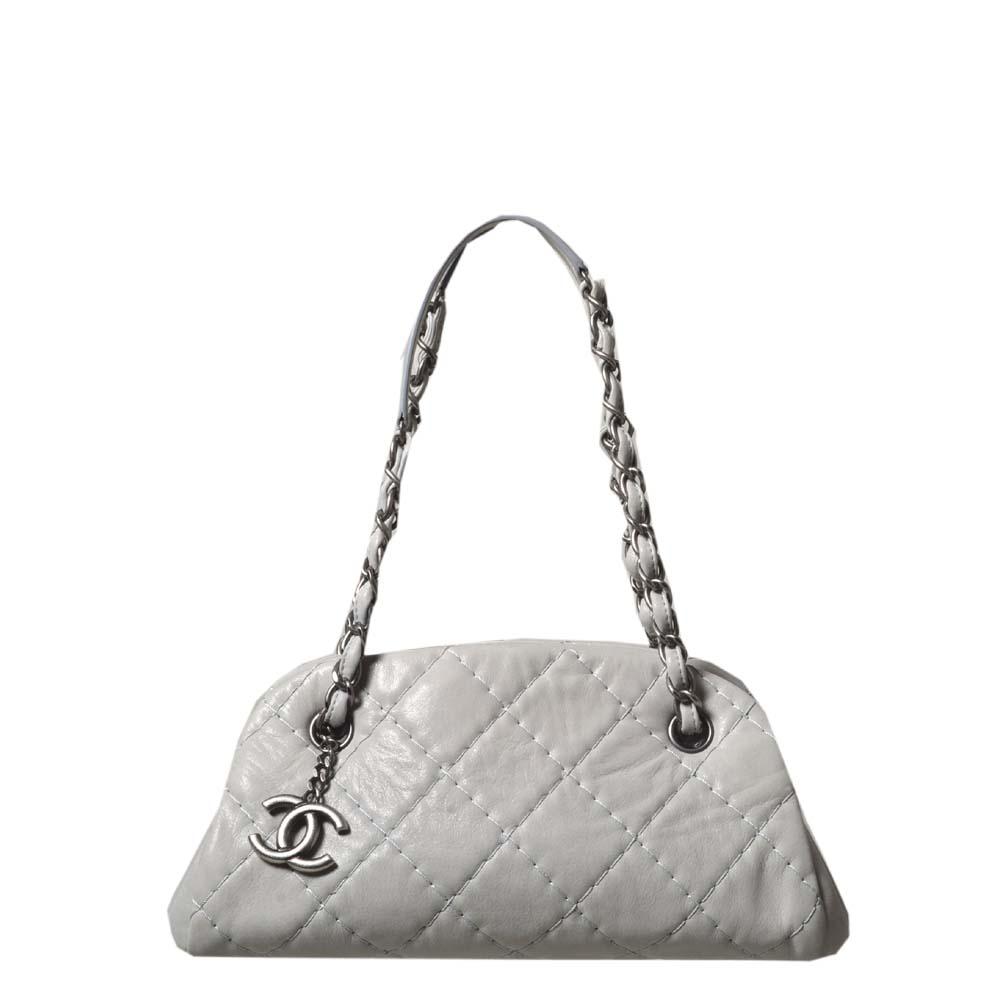 Chanel bag white grey silver leather_11 Kopie