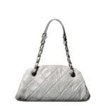 Chanel bag white grey silver leather_8 Kopie