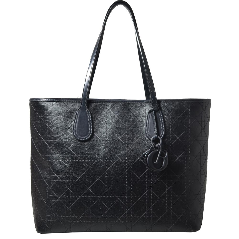 Christian Dior shopper black canvas leather CD_7 Kopie