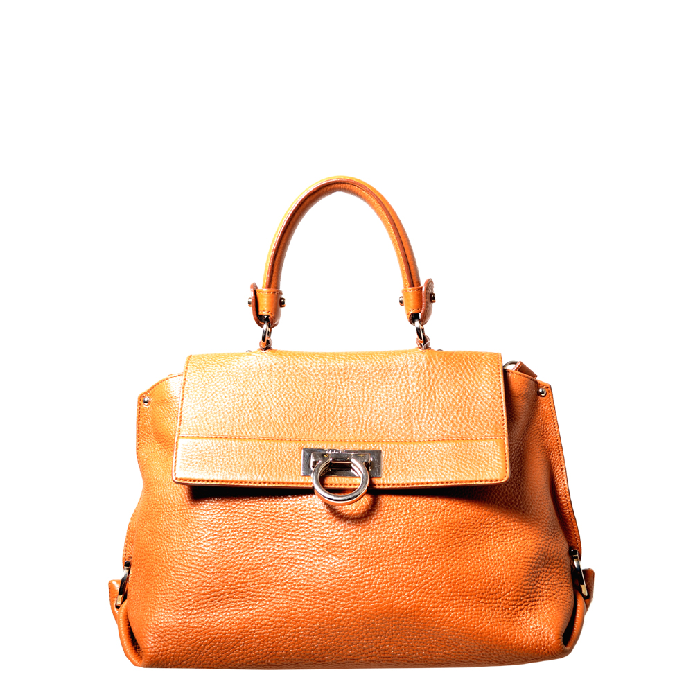 Salvatore Ferragamo Sofia bag leather cognac silver_8 Kopie