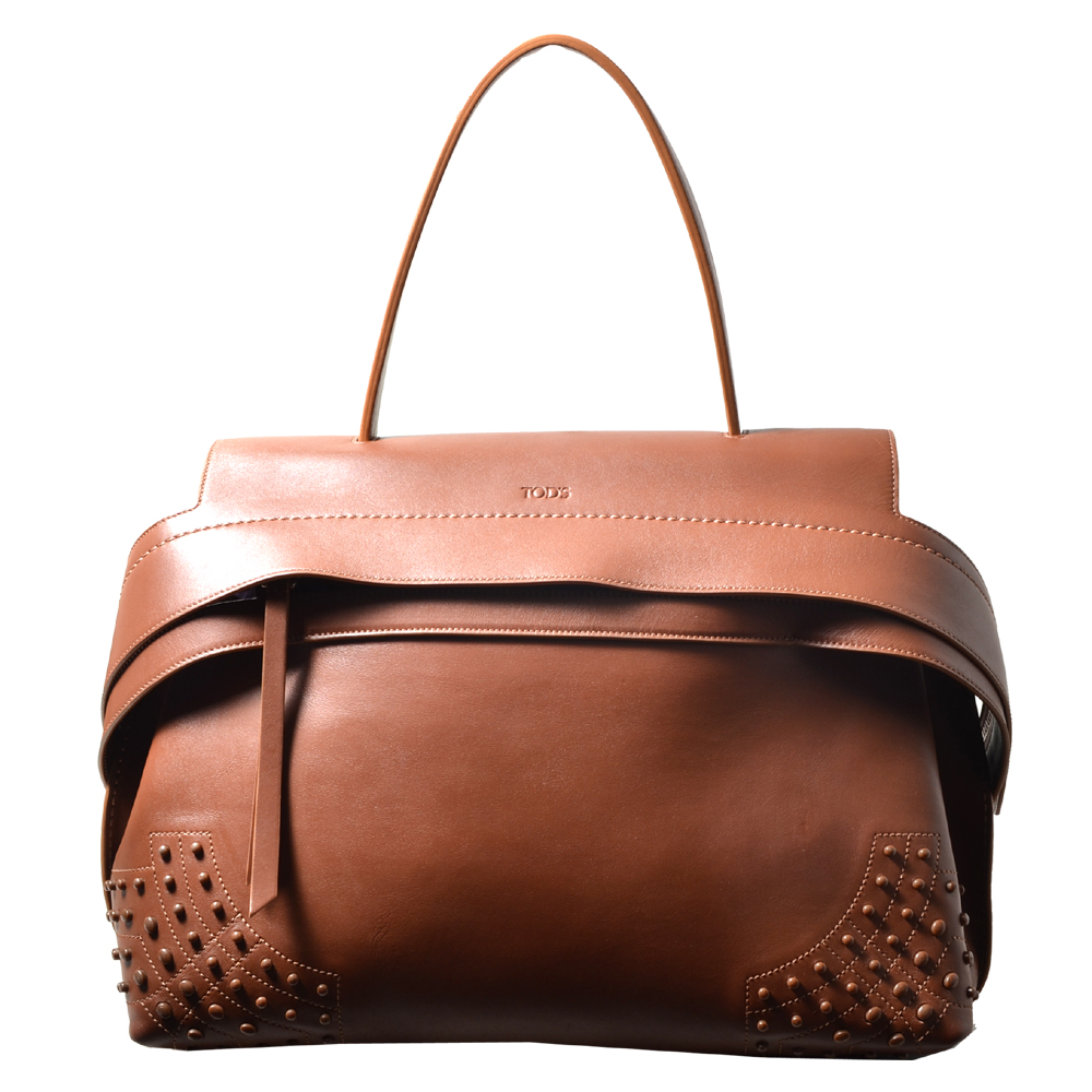 Tods bag wave cognac rivets leather_6 Kopie