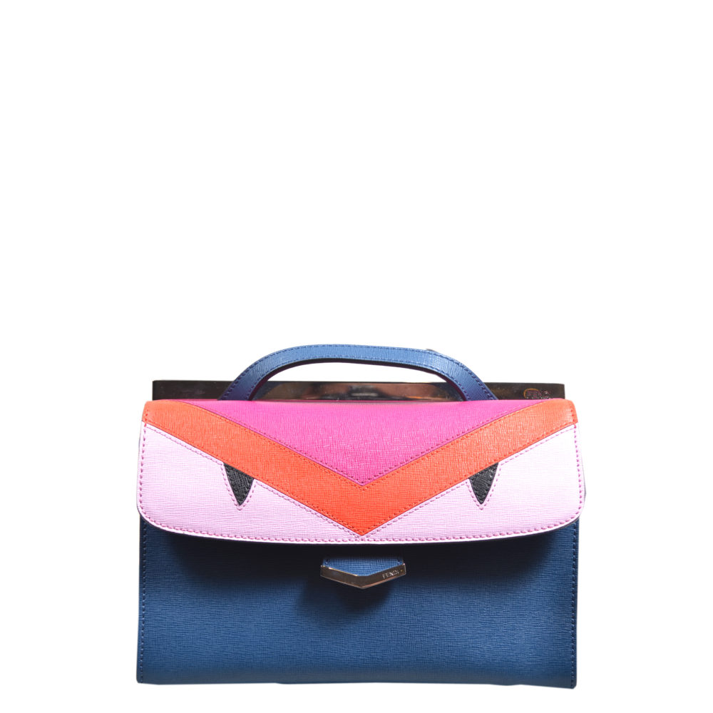 Fendi Monster crossbody bag small blue red pink leather hardware silver_1 Kopie