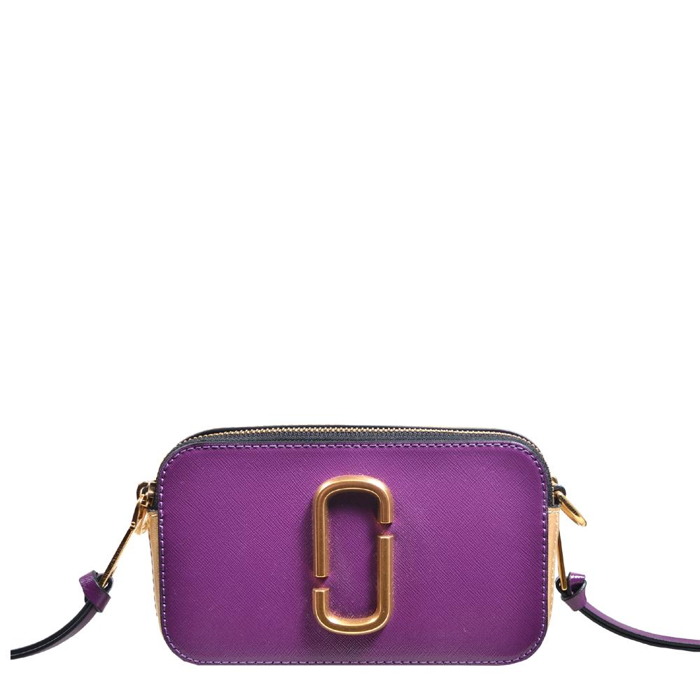 Marc Jacobs crossbody bag mini purple gold leather canvas shoulderstrap gold hardware_9 Kopie