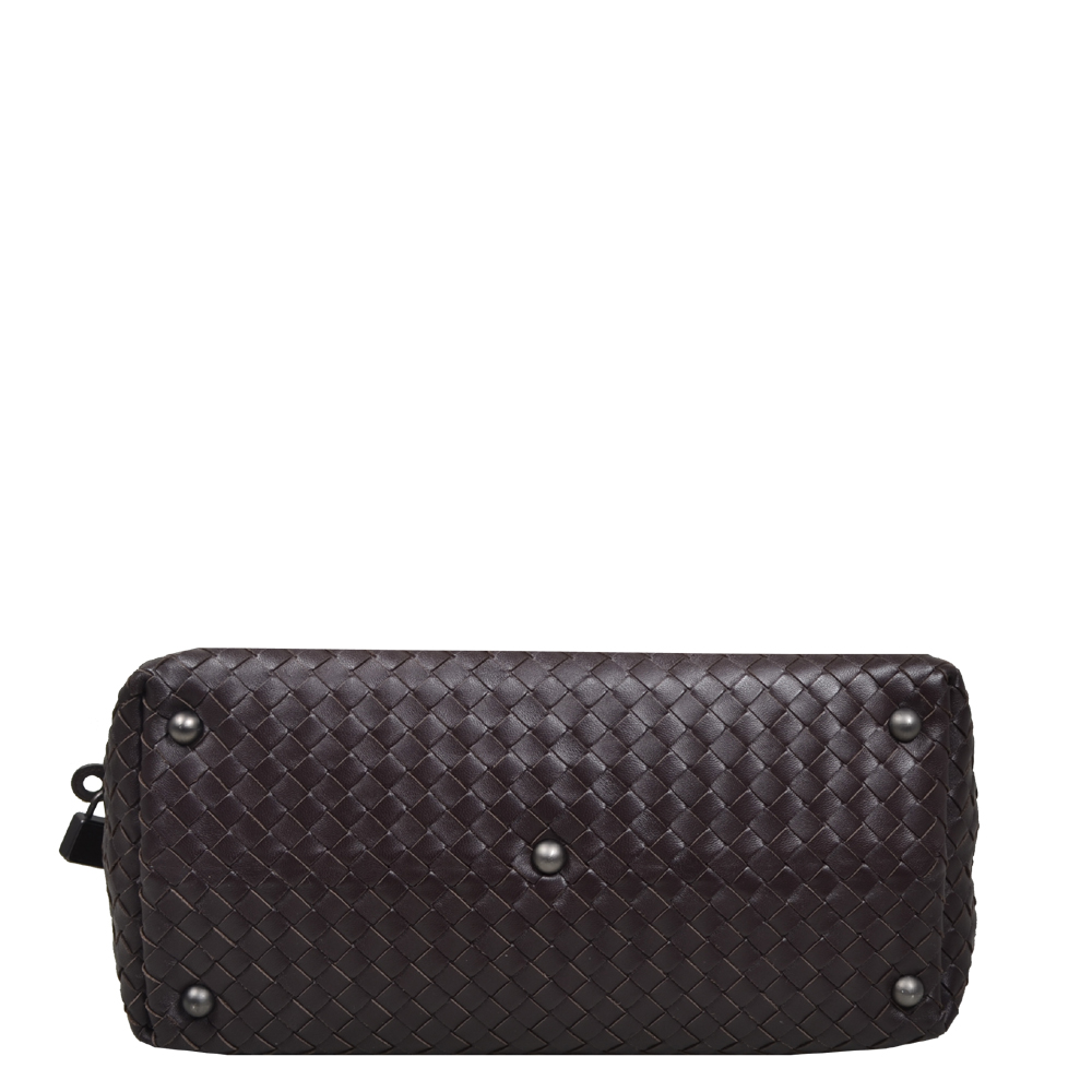 5d4b3c5396 Bottega Veneta Bowling bag darkbrown woven leather silver 2 Kopie
