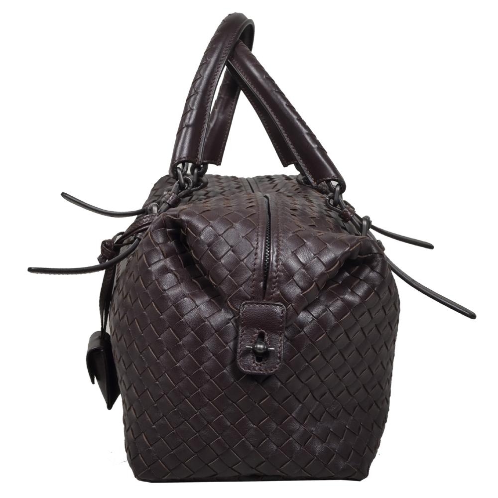 7cbf2cc4d0 Bottega Veneta Bowling bag darkbrown woven leather silver 3 Kopie