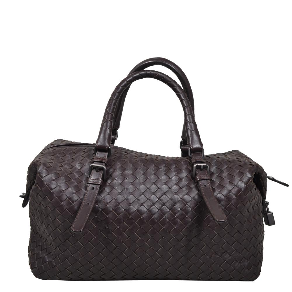 92e86a3795 Bottega Veneta Bowling bag darkbrown woven leather silver 4 Kopie