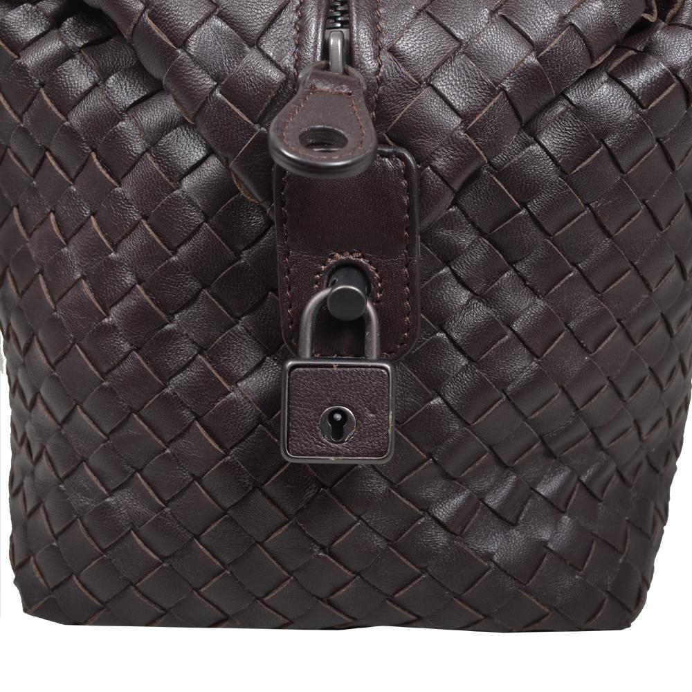 352ad569bf2f Bottega Veneta Bowling bag darkbrown woven leather silver 5 Kopie