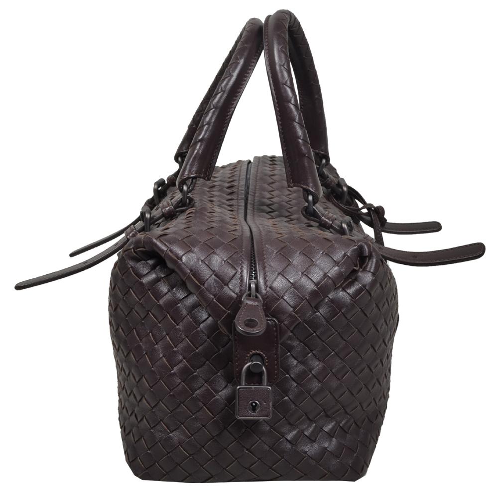 9217b8cd7e Bottega Veneta Bowling bag darkbrown woven leather silver 6 Kopie