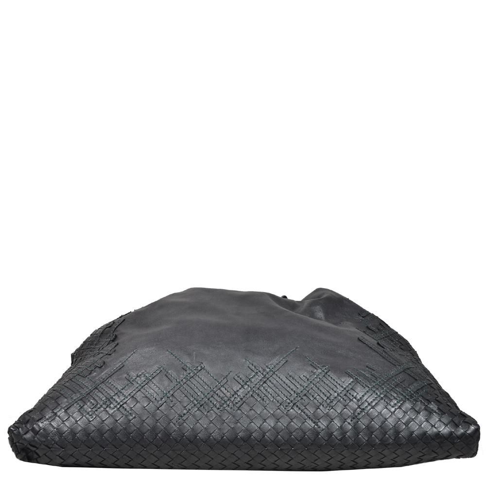 Bottega Veneta Shopper black green woven leather 1 Kopie 5fd7a3da428cd