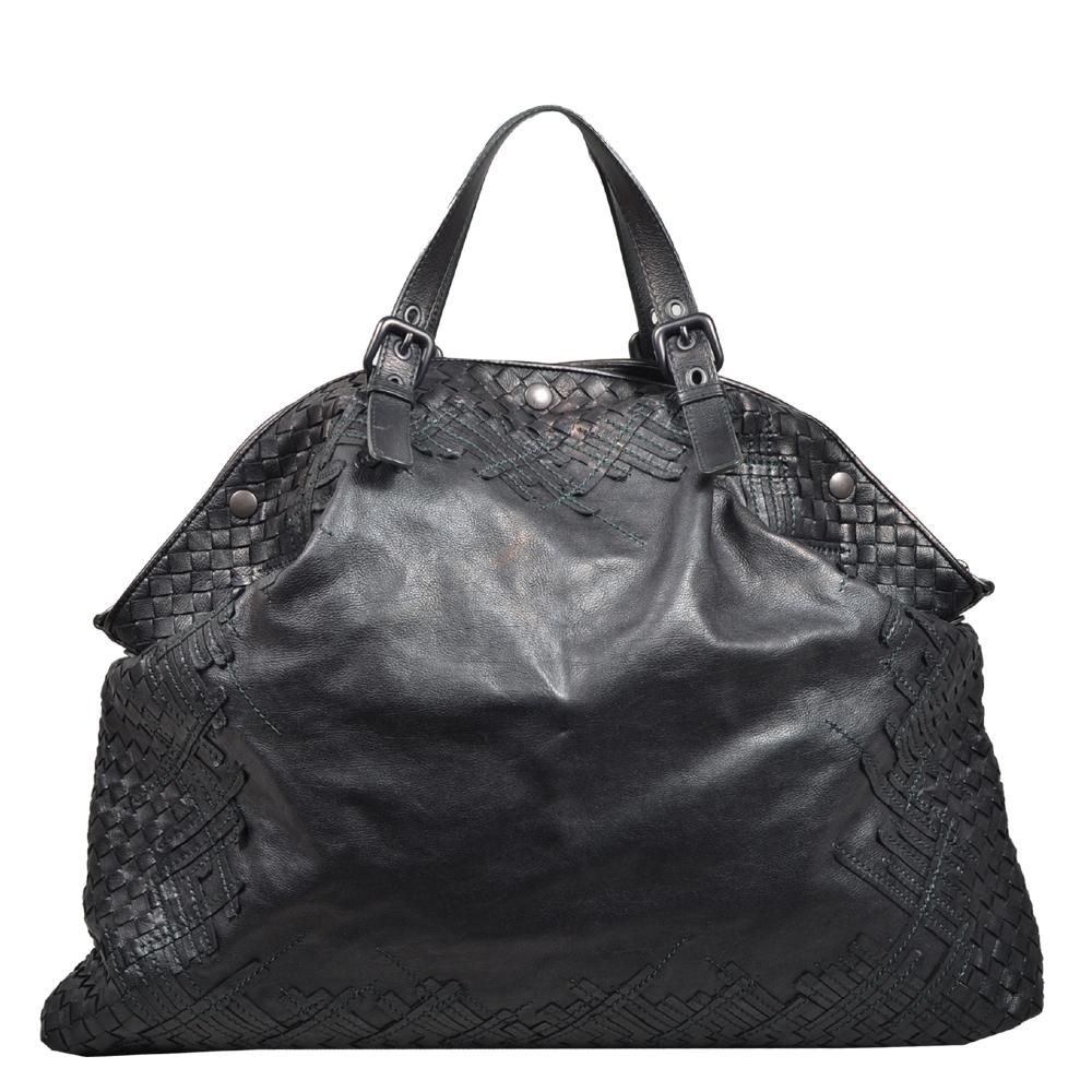 Bottega Veneta Shopper black green woven leather_7 Kopie