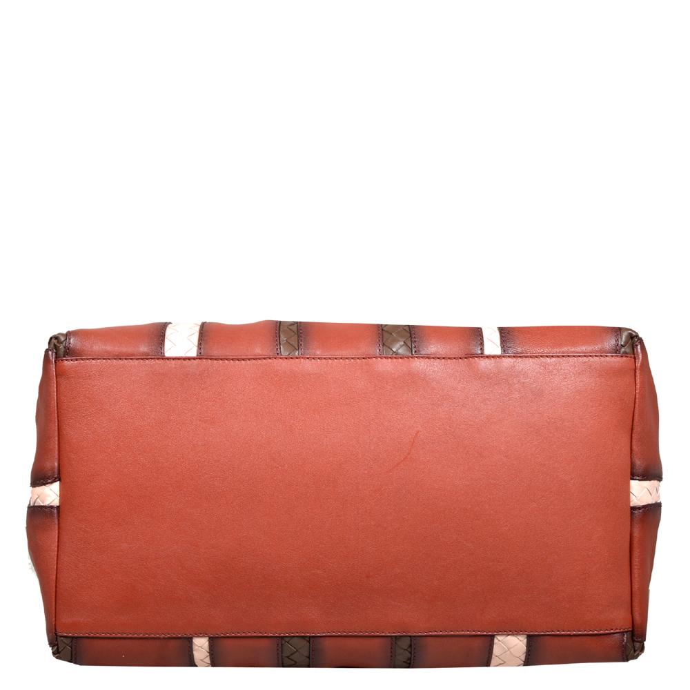 Bottega Veneta Shopper red grey brown white leather 1 Kopie a93ed78815e83