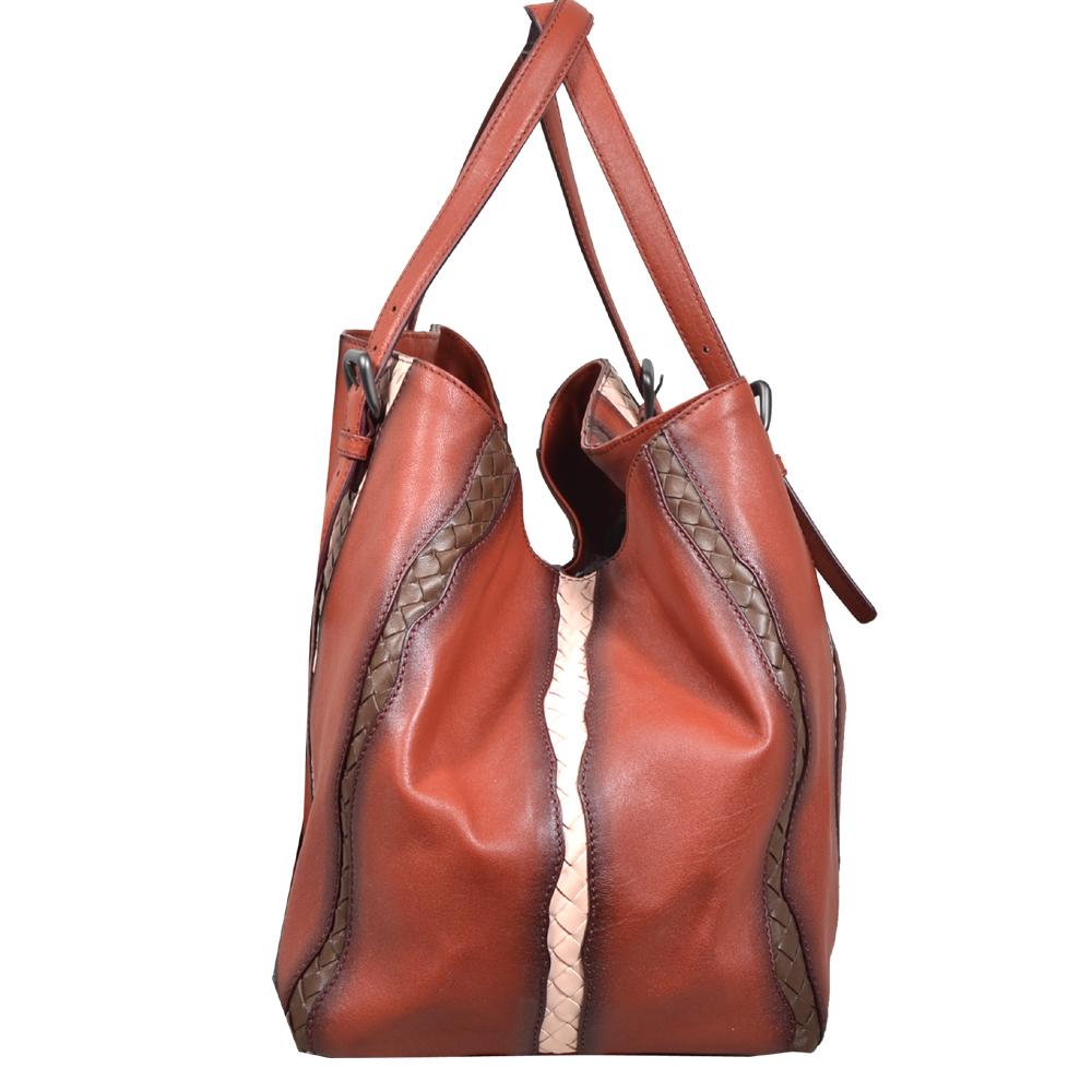 Bottega Veneta Shopper red grey brown white leather 3 Kopie 43c2c10bebd9f